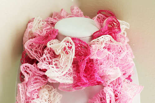 Pink and White Ruffle Scarf