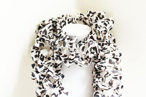 White and Black Animal Print Ruffle Scarf