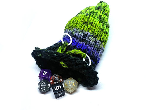 Green, Purple, & Black Dice Bag