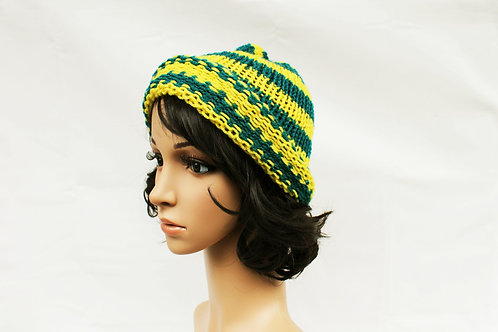 Yellow and Teal Beanie Hat