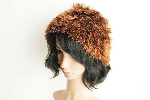 Brown Fur Beanie Hat
