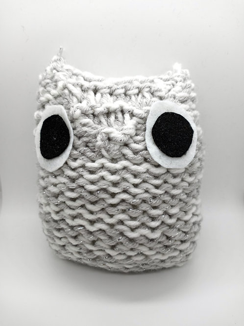 White and Silver Sparkle Radical Owl Stuffed Toy