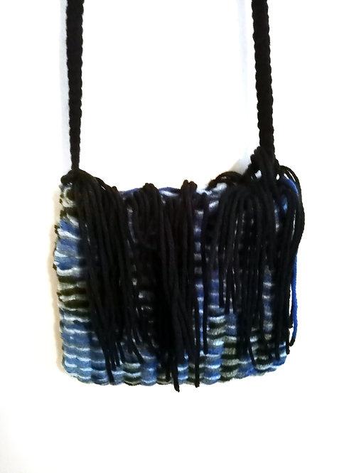 Blue and Black Tassels Cross Body Bag