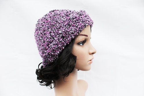 Purple, Black, and White Beanie Hat