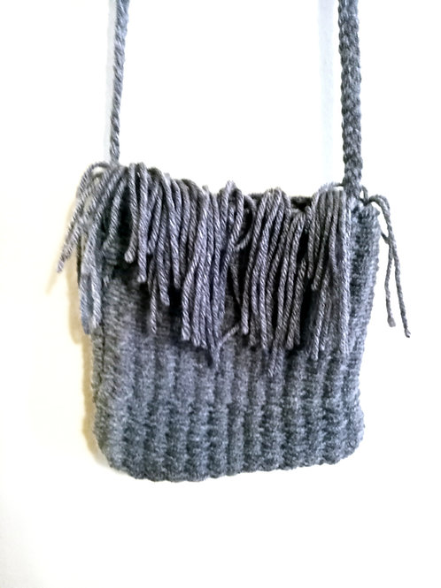 Grey Tassels Cross Body Bag