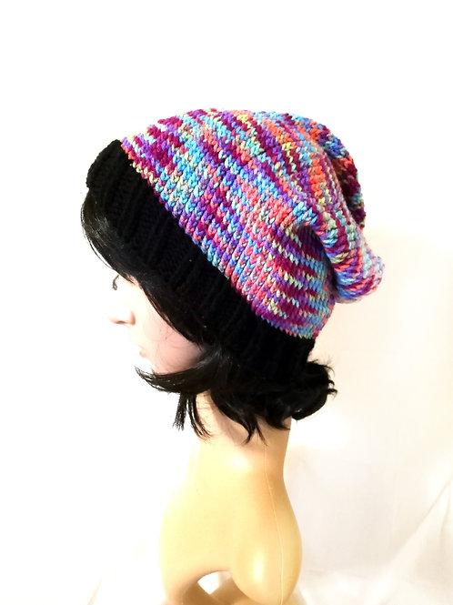 Multicolored Black Knit Beanie Hat