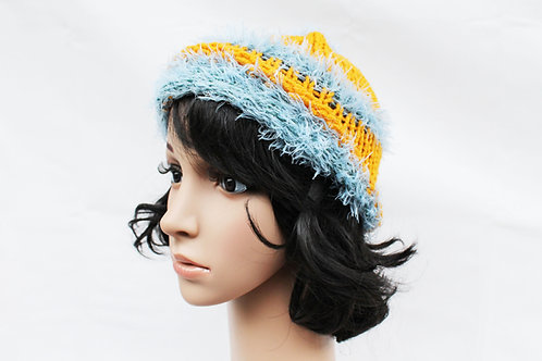 Golden Blue Fur Beanie Hat