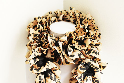 Black and Tan Animal Print Ruffle Scarf