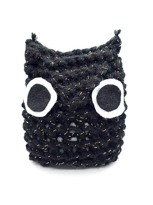 Black Gold Sparkle Radical Owl Stuffed Toy