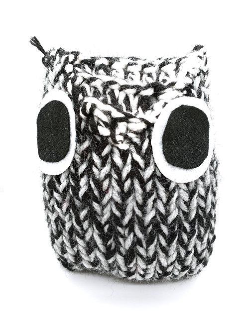 Black White and Gray Radical Owl Stuffed Toy