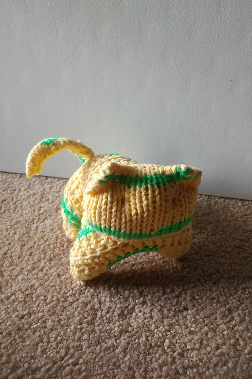 Yellow and Green Kitty Plush Toy Stuffed Animal