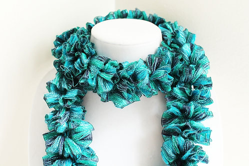 Teal and Turquoise Sparkle Ruffle Scarf