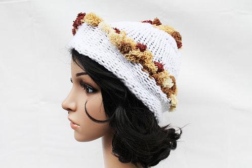 White Brown Pom Pom Beanie Hat
