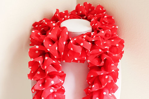 Red and White Polkadot Ruffle Scarf