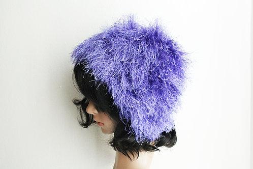 Purple Fur Beanie Hat
