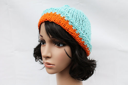 Orange and Turquoise Beanie Hat