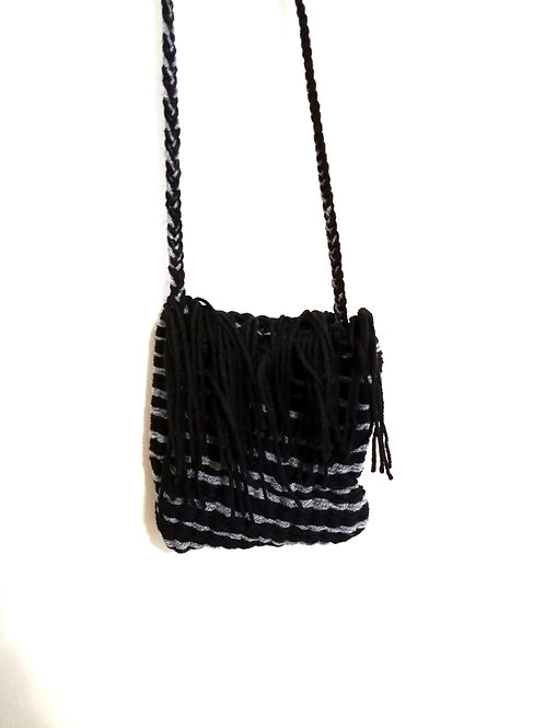Grey and Black Tassels Cross Body Bag