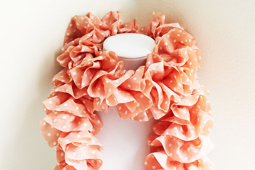 Pink and White Polkadot Ruffle Scarf