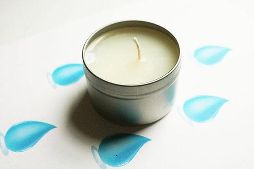 Water Scented Natural Vegan Tin Candle