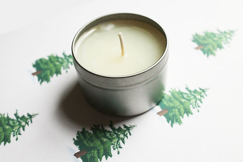 Pine Scented Natural Vegan Tin Candle