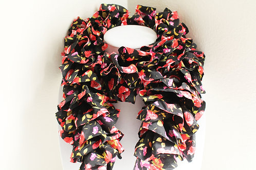 Black with Red Roses Ruffle Scarf
