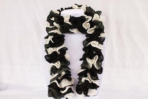 Black and White Ruffle Scarf