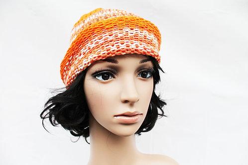 Orange & White Beanie Hat