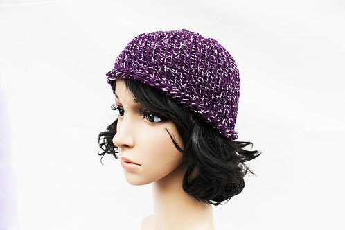 Purple and White Beanie Hat