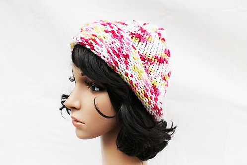White Floral Beanie Hat