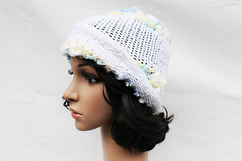 White Cloud Fuzz Beanie Hat