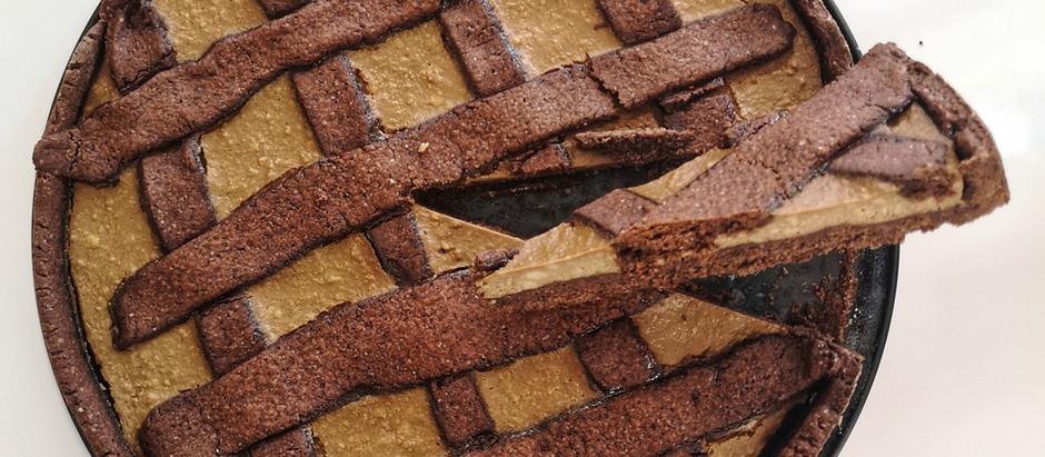 Crostata integrale al cacao con ricotta e caffè