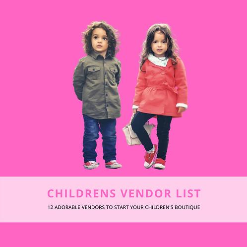 Children's Vendor List