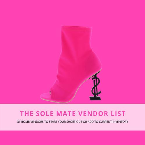 """""""Solemate"""" Vendor List"""