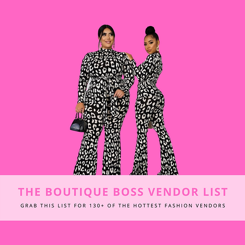 The Boutique Boss Vendor List