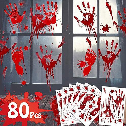80 Pcs Bloody Hands & Feet Sticker Decals
