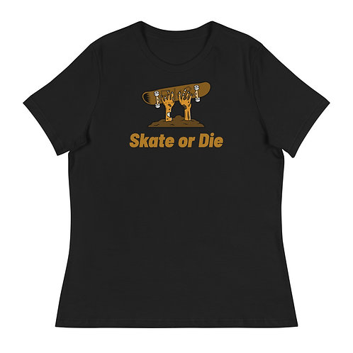 """""""Skate or Die Zombie"""" Women's Relaxed T-Shirt"""