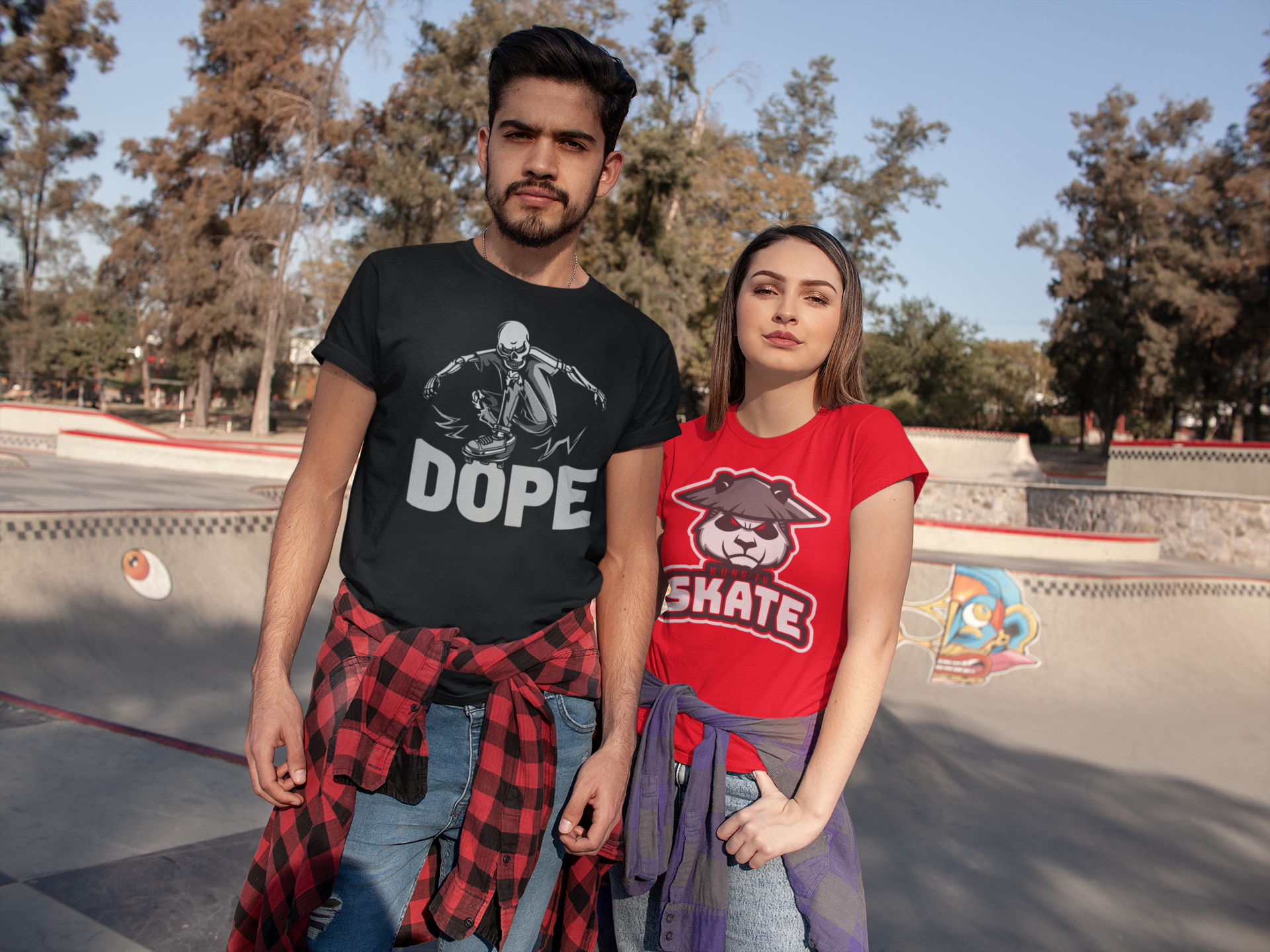 t-shirt-mockup-of-a-couple-at-an-outdoor