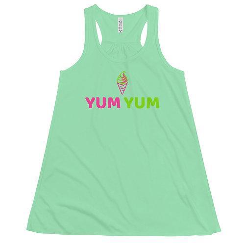 """Yum Yum Ice Cream"" Women's Flowy Racerback Tank"