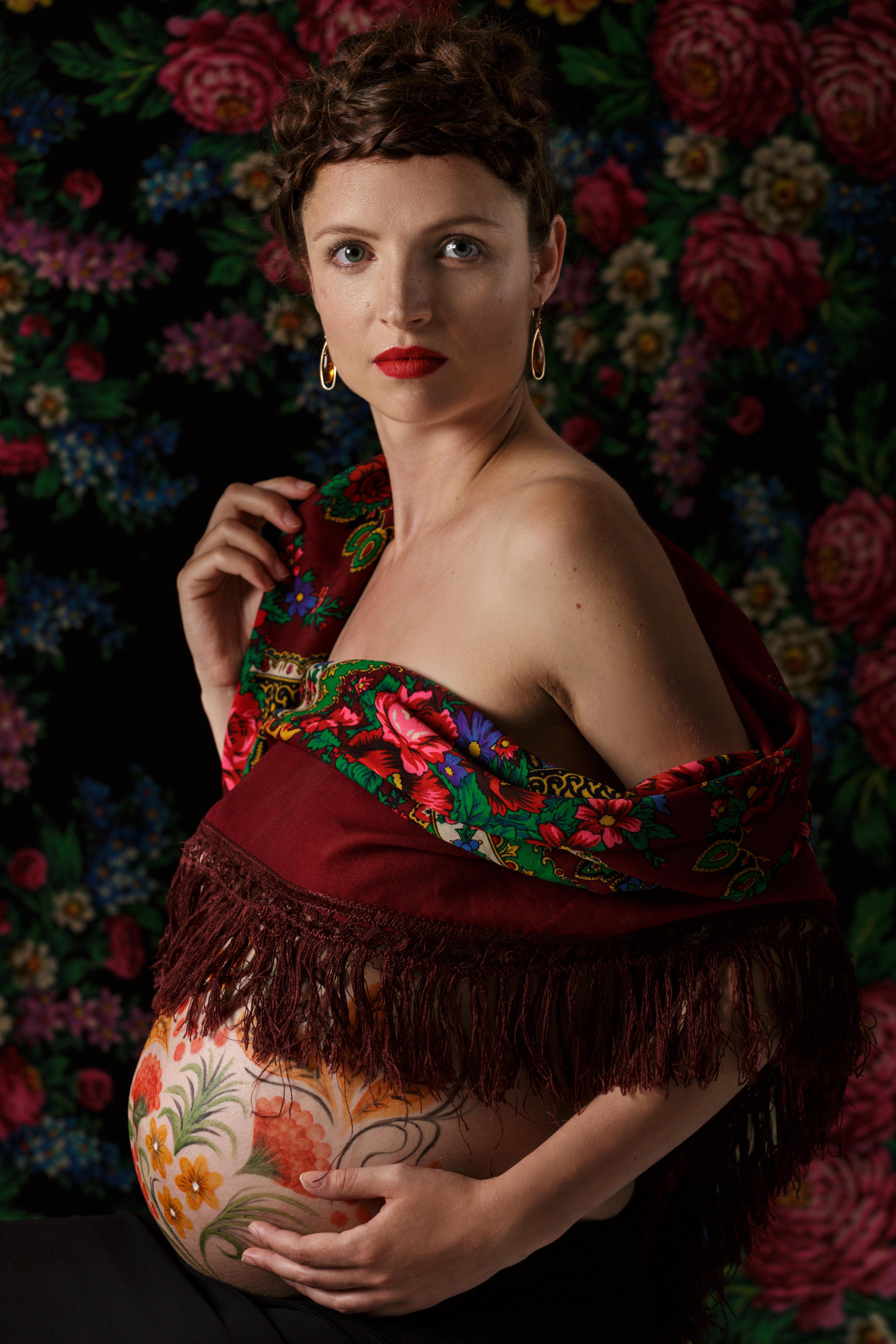 Russian theme pregnancy shoot