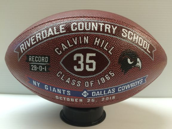 Decorated football honoring a champ