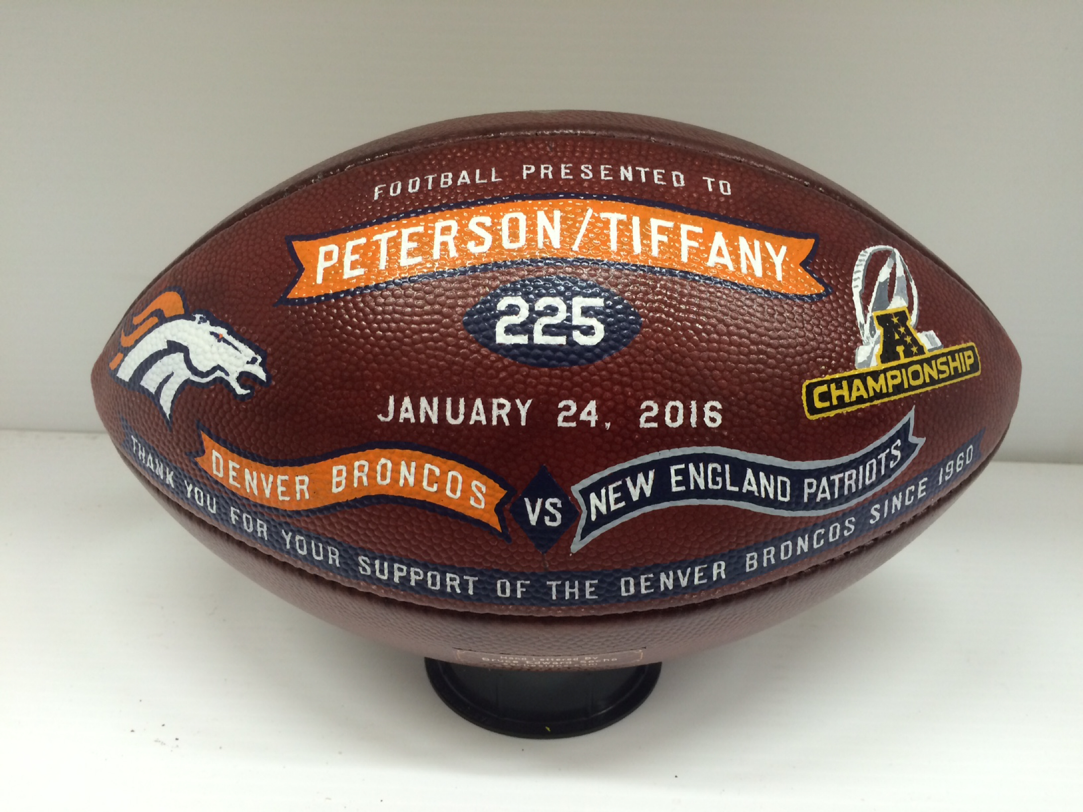 Gift football for 2016 NFL AFC game
