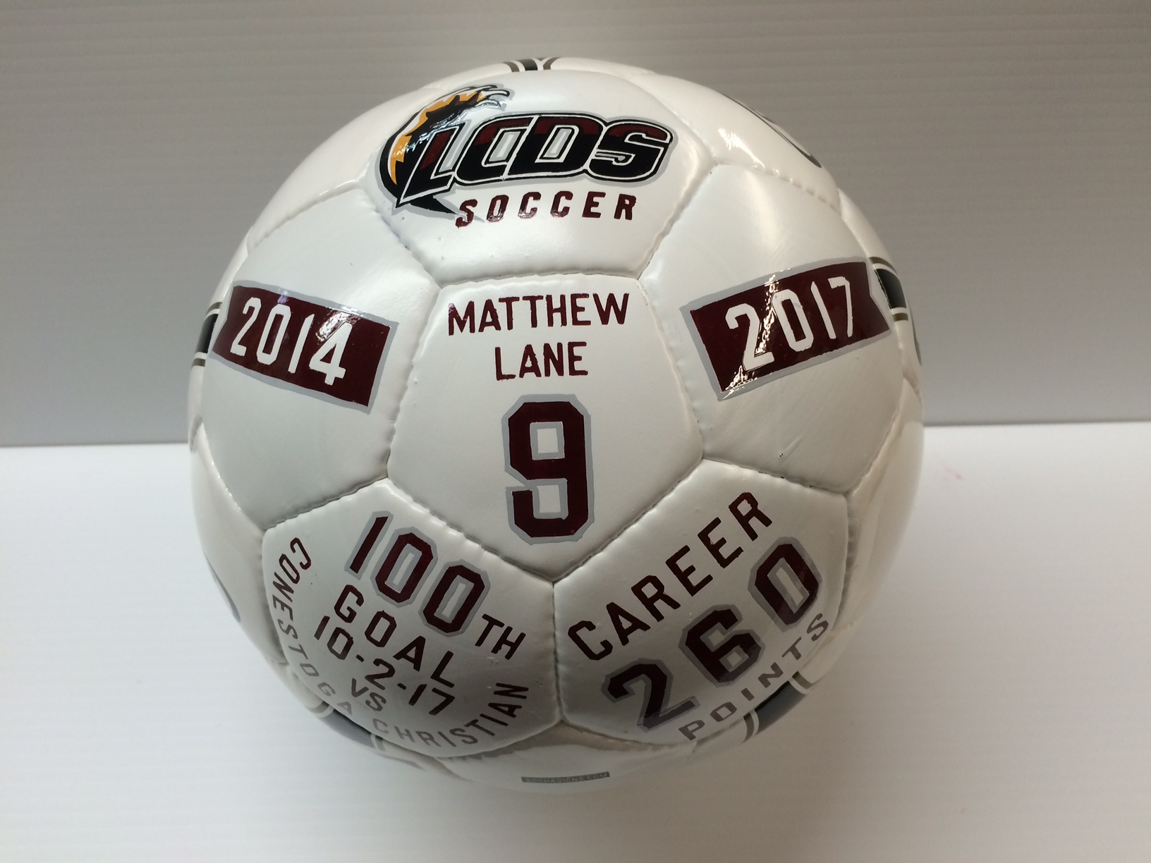 Decorated soccer ball award