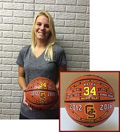 Custom decorated basketball award.
