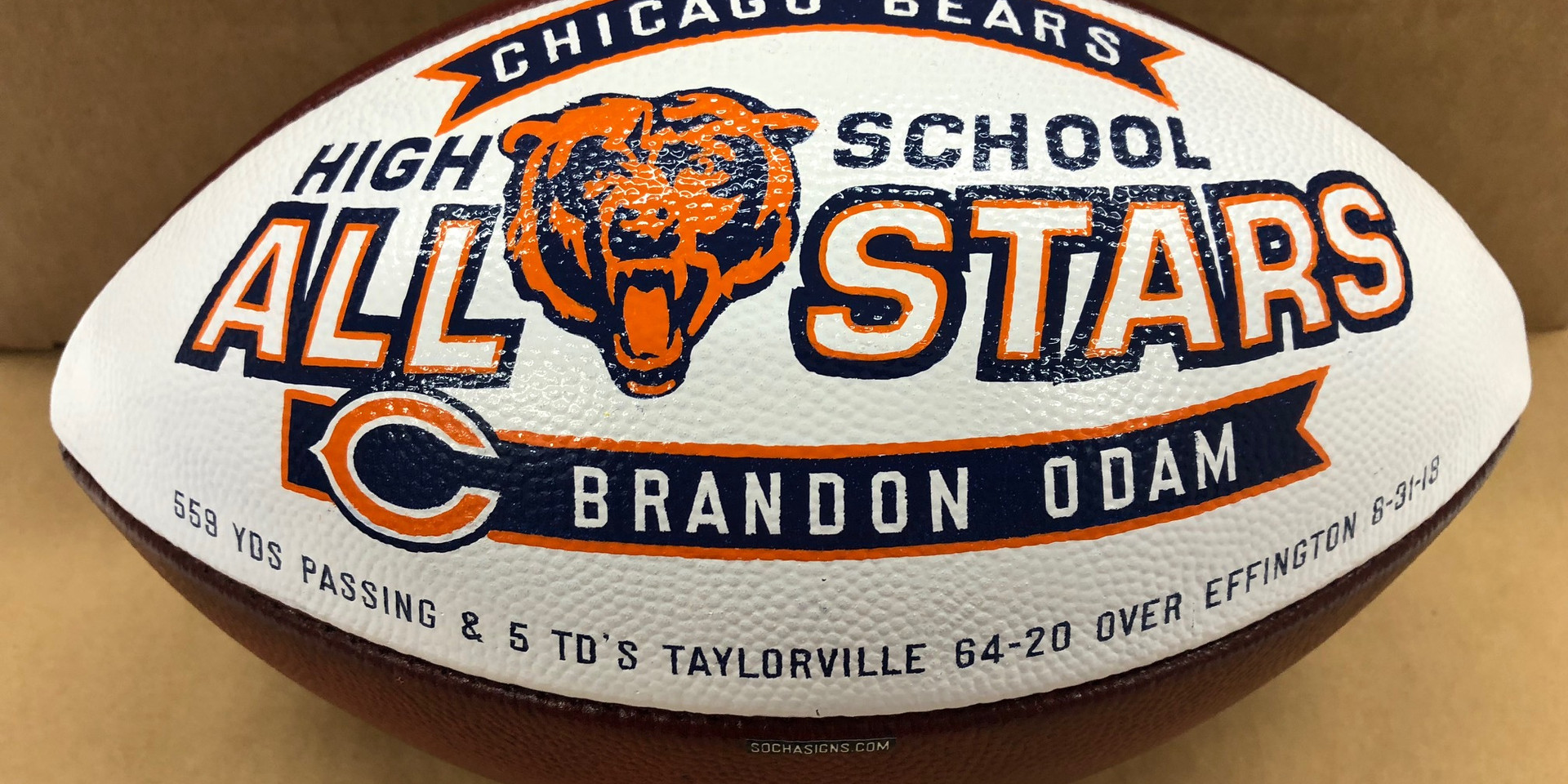 hand decorated footballs
