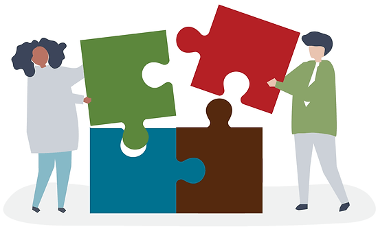 illustration of two people putting together oversized puzzle pieces