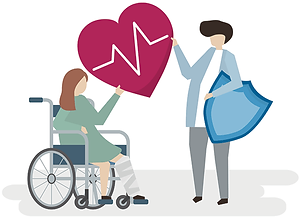 illustration of a woman in a wheelchair and a man standing holding a large red heart