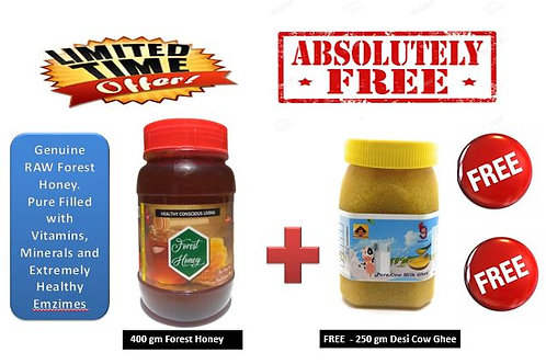 400g RAW Forest Honey + FREE 200g Desi Cow Ghee