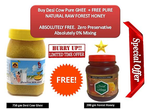 700g Desi Cow GHEE + FREE 200g Forest Honey.