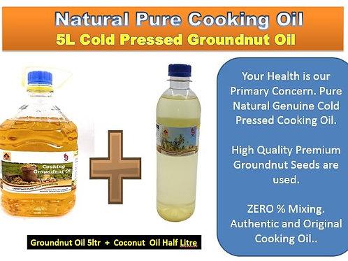 5 Ltr  Groundnut Oil + 500ml Coconut Oil