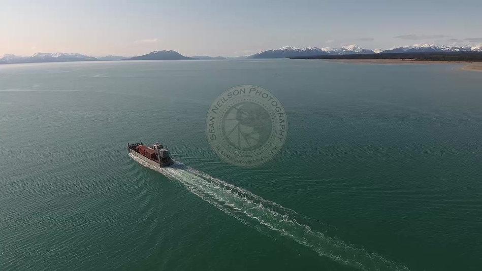 "Vessel ""Claim Jumper"" leaving the harbor in Gustavus, Alaska."